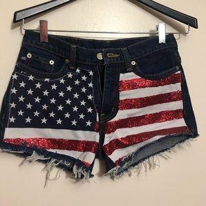 Ralph Lauren American Flag jean shorts size 2